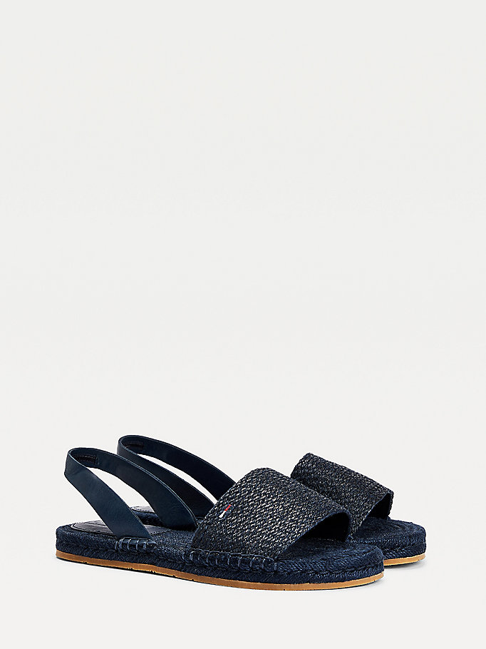 blue monochrome linen espadrille sandals for women tommy jeans