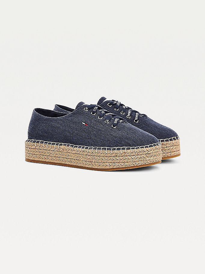 blue essential flatform espadrille trainers for women tommy jeans