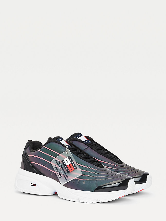 white reflective heritage sneaker for women tommy jeans
