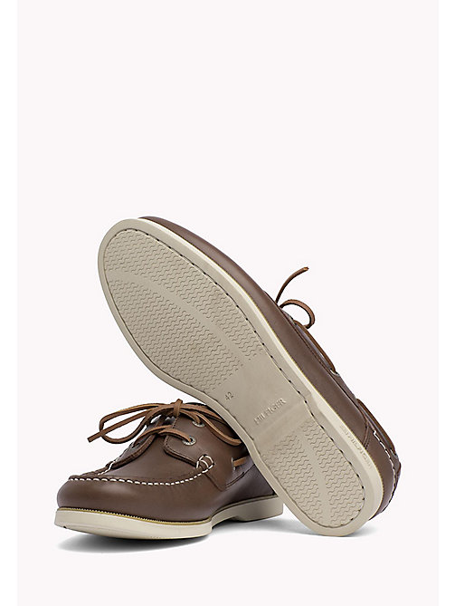TOMMY HILFIGER Leather Boat Shoes - COFFEE - TOMMY HILFIGER Loafers & Boat Shoes - detail image 1