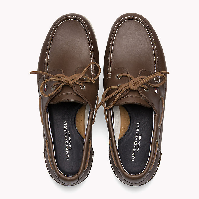 TOMMY HILFIGER Leather Boat Shoes - MIDNIGHT - TOMMY HILFIGER Shoes - detail image 3