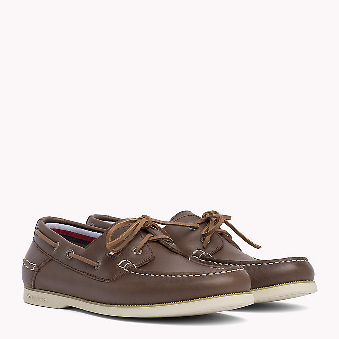 TOMMY HILFIGER Leather Boat Shoes - MIDNIGHT - TOMMY HILFIGER Shoes - main image