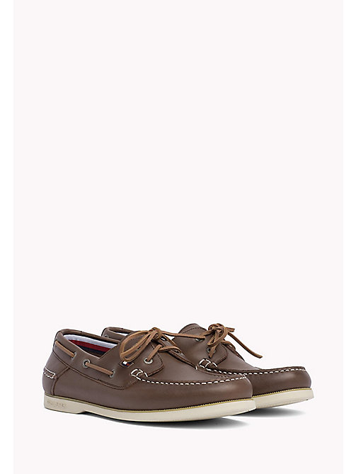 TOMMY HILFIGER Leather Boat Shoes - COFFEE - TOMMY HILFIGER Shoes - main image