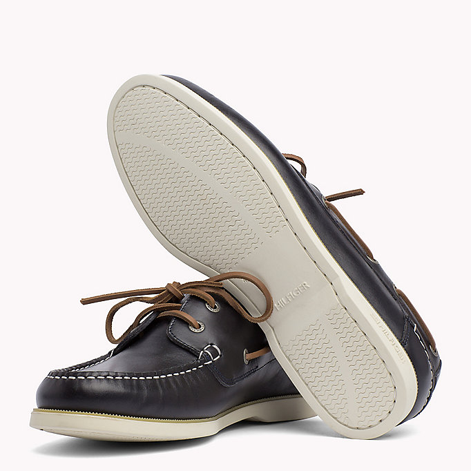 TOMMY HILFIGER Leather Boat Shoes - COGNAC - TOMMY HILFIGER Shoes - detail image 1