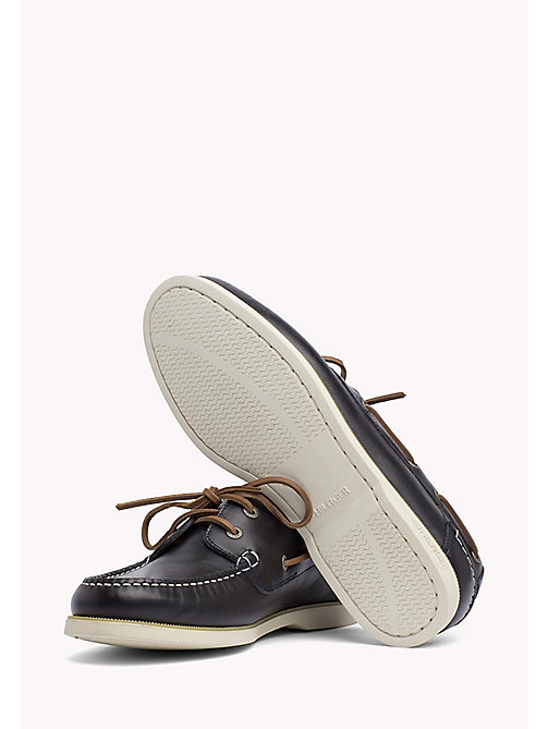 TOMMY HILFIGER Leather Boat Shoes - MIDNIGHT - TOMMY HILFIGER Loafers & Boat Shoes - detail image 1