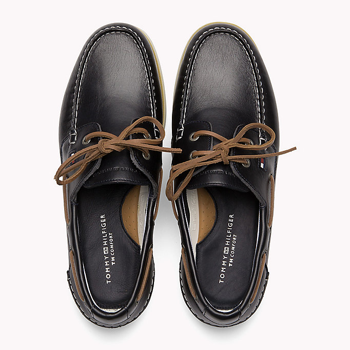 TOMMY HILFIGER Leather Boat Shoes - COGNAC - TOMMY HILFIGER Men - detail image 3