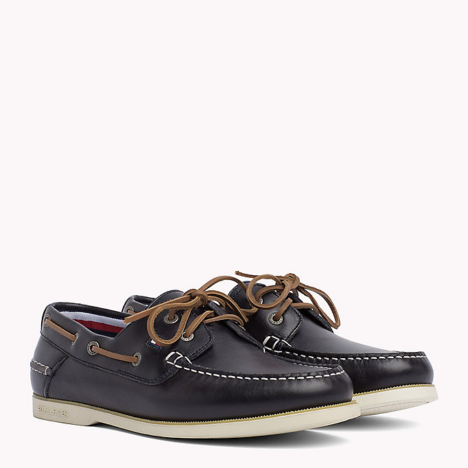 TOMMY HILFIGER Leather Boat Shoes - COGNAC - TOMMY HILFIGER Shoes - main image
