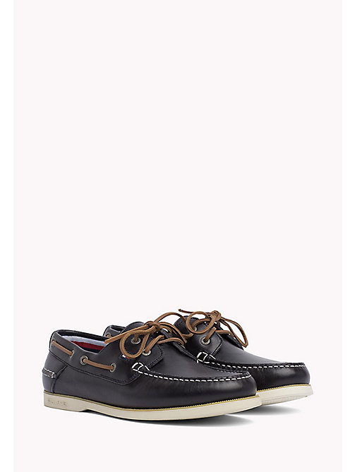 TOMMY HILFIGER Leather Boat Shoes - MIDNIGHT - TOMMY HILFIGER Loafers & Boat Shoes - main image