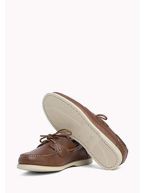 TOMMY HILFIGER Leather Boat Shoes - COGNAC - TOMMY HILFIGER Loafers & Boat Shoes - detail image 1