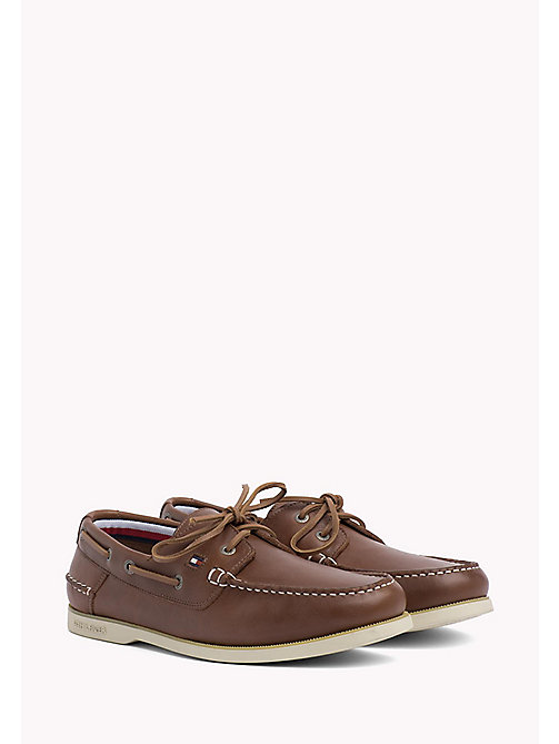 Leather Boat Shoes - COGNAC - TOMMY HILFIGER Shoes - main image