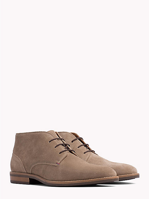 TOMMY HILFIGER Classic Suede Lace-Up Boots - TAUPE GREY - TOMMY HILFIGER Lace-Up Boots - main image