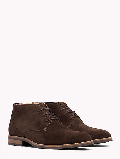 TOMMY HILFIGER Suede Ankle Boots - COFFEE BEAN -  Lace-Up Boots - main image