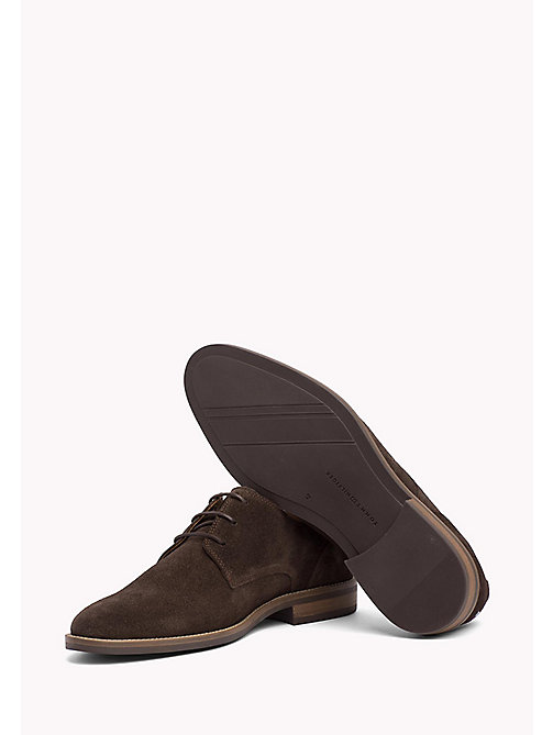 TOMMY HILFIGER Suede Derby Shoes - COFFEE BEAN - TOMMY HILFIGER Stringate - dettaglio immagine 1