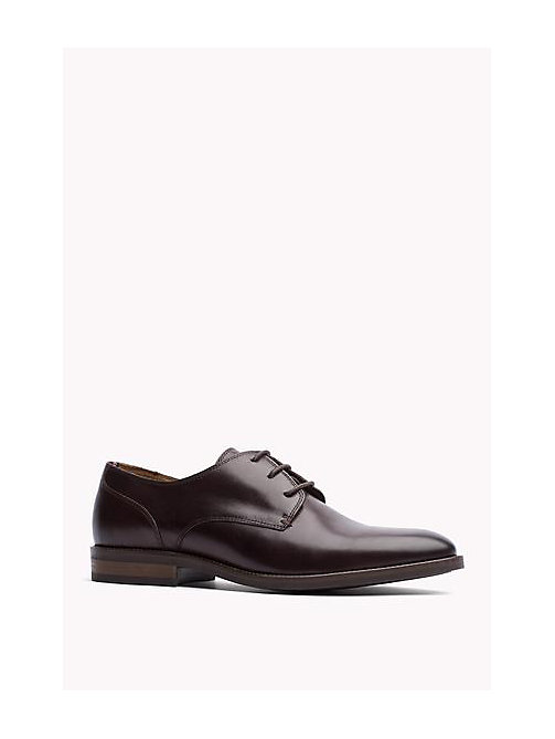 TOMMY HILFIGER Essential Leather Derby Shoes - COFFEEBEAN - TOMMY HILFIGER Shoes - main image