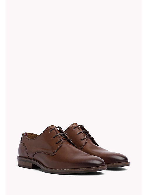 TOMMY HILFIGER Essential Leather Derby Shoes - COGNAC - TOMMY HILFIGER Chaussures À Lacets - image principale