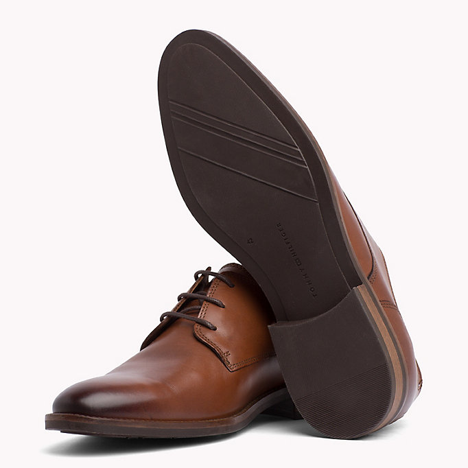TOMMY HILFIGER Essential Leather Derby Shoes - COGNAC - TOMMY HILFIGER Men - detail image 1