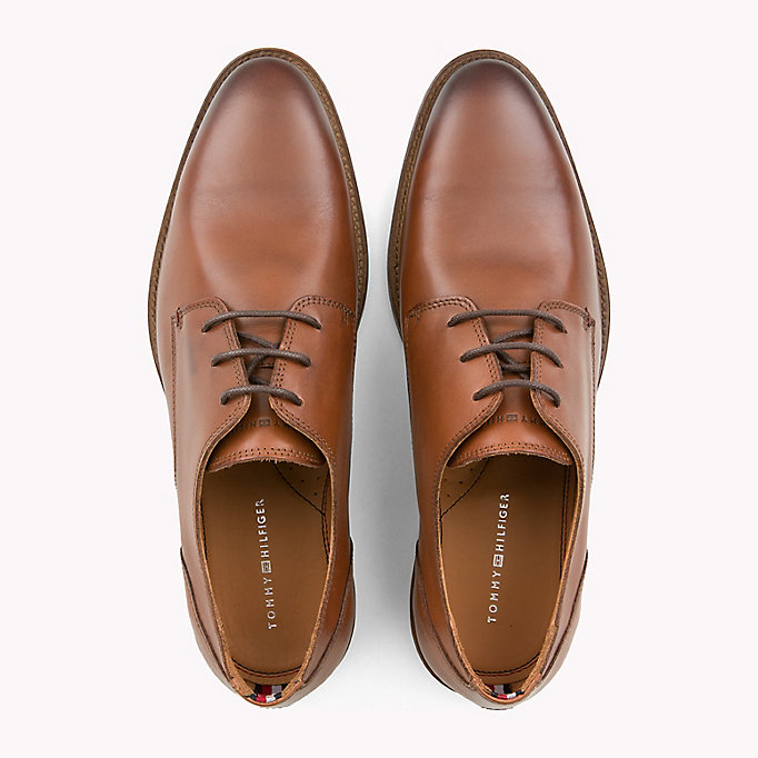 TOMMY HILFIGER Essential Leather Derby Shoes - COGNAC - TOMMY HILFIGER Men - detail image 3