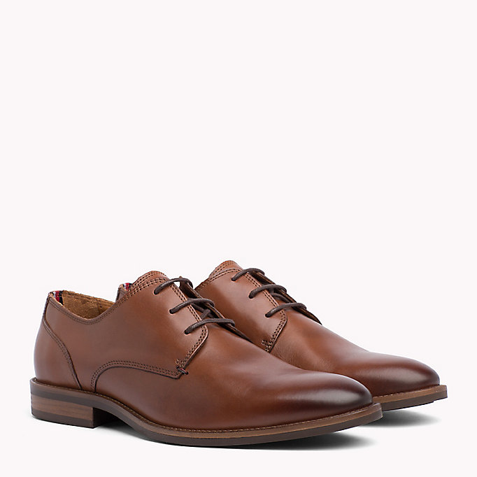 TOMMY HILFIGER Essential Leather Derby Shoes - COGNAC - TOMMY HILFIGER Hommes - image principale