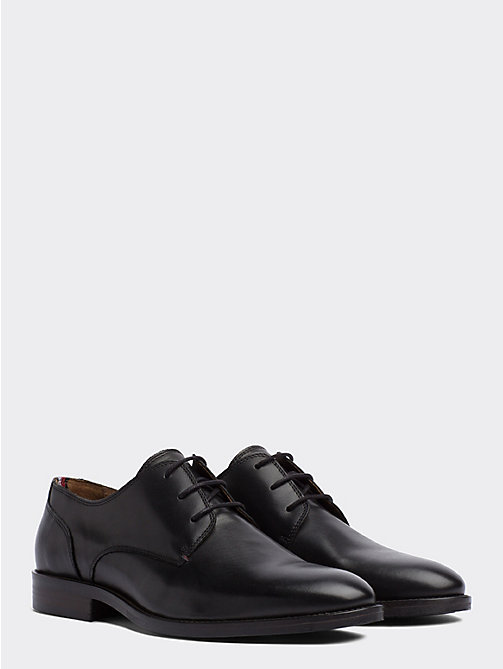 TOMMY HILFIGER Essential Leather Derby Shoes - BLACK - TOMMY HILFIGER Stringate - immagine principale