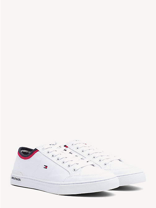 TOMMY HILFIGER Stripe Textile Trainers - WHITE - TOMMY HILFIGER NEW IN - main image