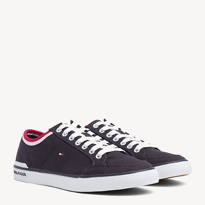 TOMMY HILFIGER Stripe Textile Trainers - WHITE - TOMMY HILFIGER Men - main image