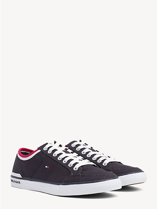 TOMMY HILFIGER Stripe Textile Trainers - MIDNIGHT - TOMMY HILFIGER Shoes - main image
