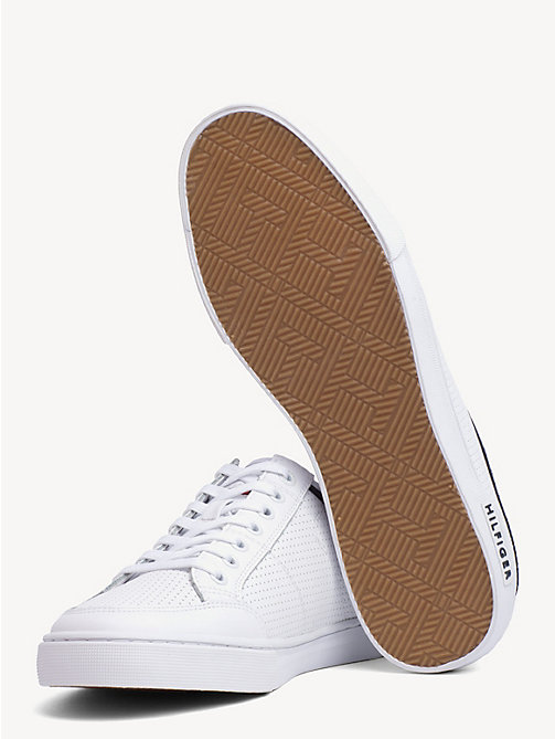 TOMMY HILFIGER Leather Perforated Trainers - WHITE - TOMMY HILFIGER Trainers - detail image 1
