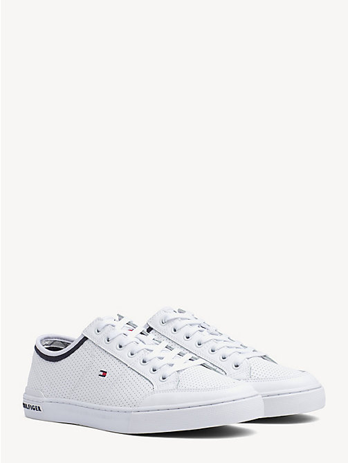 TOMMY HILFIGER Leather Perforated Trainers - WHITE - TOMMY HILFIGER Trainers - main image