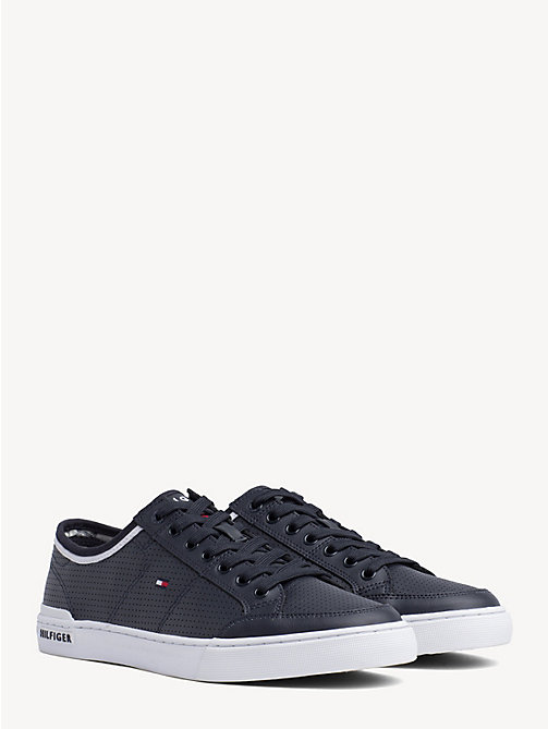 TOMMY HILFIGER Leather Perforated Trainers - MIDNIGHT - TOMMY HILFIGER Trainers - main image