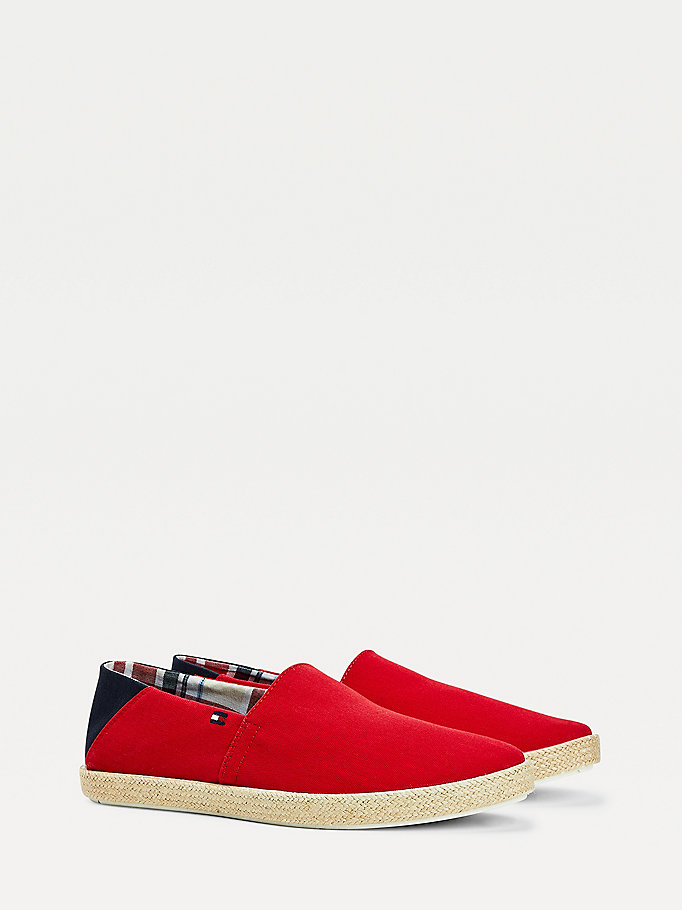 red pure cotton jute sole espadrilles for men tommy hilfiger