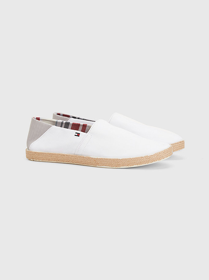 white pure cotton jute sole espadrilles for men tommy hilfiger