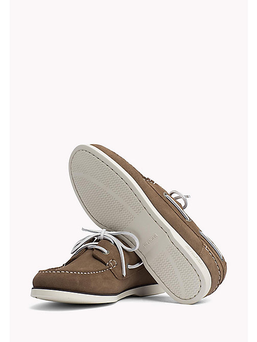 TOMMY HILFIGER Classic Leather Boat Shoes - TAUPE - TOMMY HILFIGER Loafers & Boat Shoes - detail image 1
