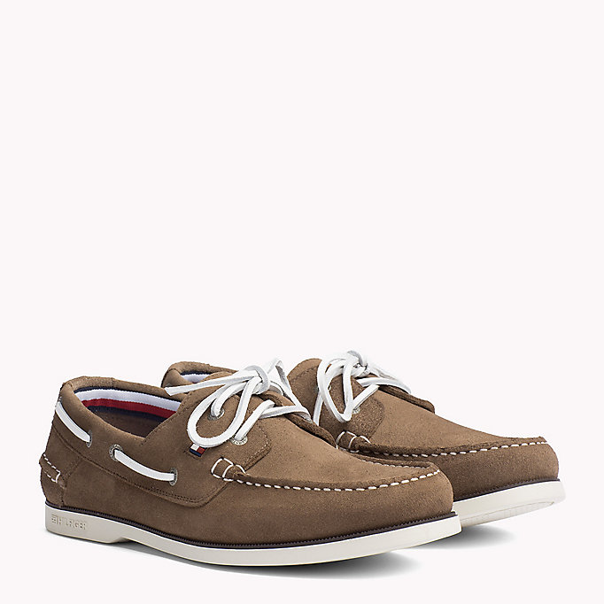 TOMMY HILFIGER Chaussures bateau classiques en cuir - ICE-DUSTY OLIVE-COFFEEBEAN - TOMMY HILFIGER Hommes - image principale