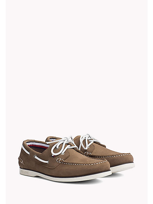TOMMY HILFIGER Classic Leather Boat Shoes - TAUPE - TOMMY HILFIGER Loafers & Boat Shoes - main image