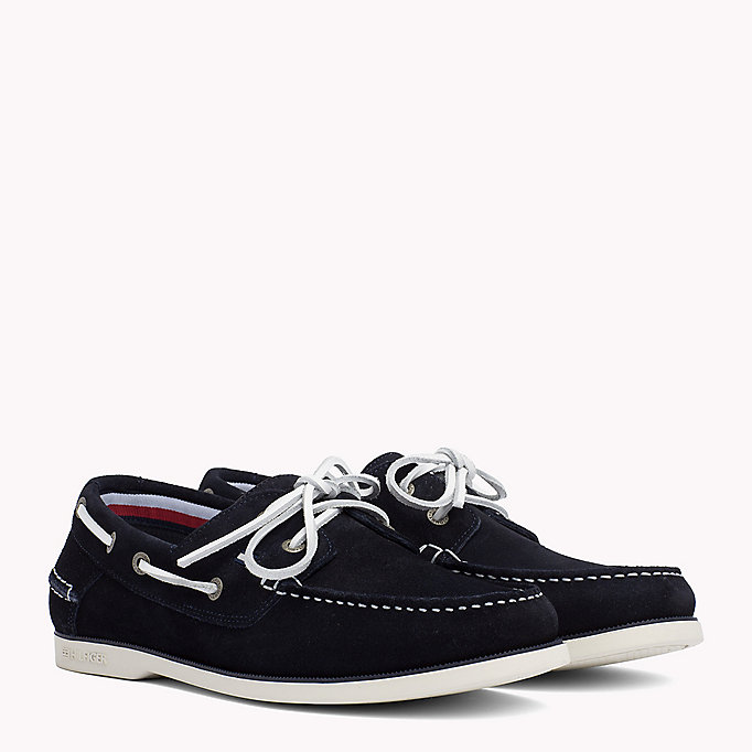 TOMMY HILFIGER Chaussures bateau classiques en cuir - JEANS-TAUPE-MIDNIGHT - TOMMY HILFIGER Hommes - image principale