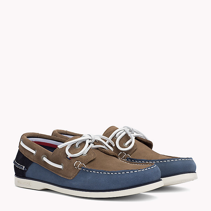 TOMMY HILFIGER Classic Leather Boat Shoes - TAUPE - TOMMY HILFIGER Men - main image