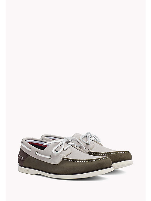 TOMMY HILFIGER Classic Leather Boat Shoes - ICE-DUSTY OLIVE-COFFEEBEAN - TOMMY HILFIGER Loafers & Boat Shoes - main image