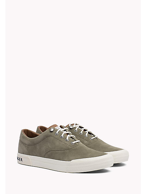TOMMY HILFIGER Heritage Suede Trainers - DUSTY OLIVE -  Sustainable Evolution - main image