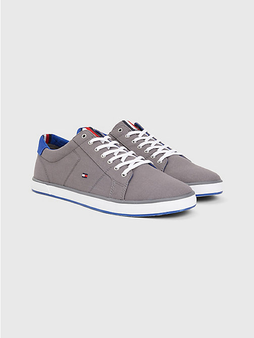TOMMY HILFIGER Canvas Lace Up Trainers - STEEL GREY - TOMMY HILFIGER Trainers - main image