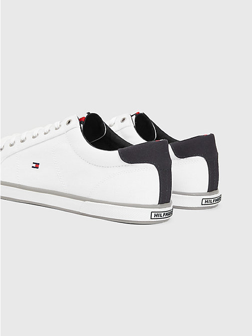 TOMMY HILFIGER Sneaker van canvas met veters - WHITE - TOMMY HILFIGER Sneakers - detail image 1
