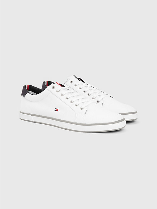 TOMMY HILFIGER Canvas Lace Up Trainers - WHITE - TOMMY HILFIGER Trainers - main image