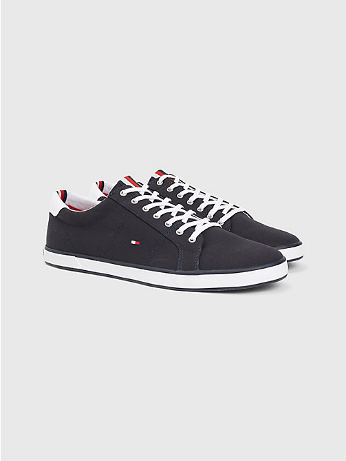 TOMMY HILFIGER Canvas Lace Up Trainers - MIDNIGHT - TOMMY HILFIGER Trainers - main image