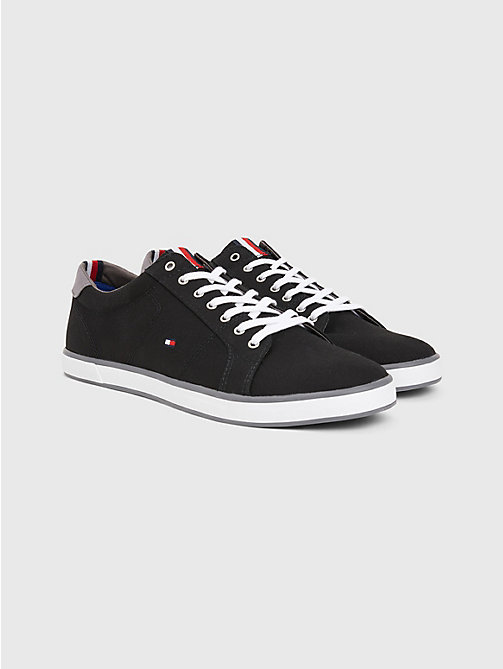 TOMMY HILFIGER Canvas Lace Up Trainers - BLACK - TOMMY HILFIGER Trainers - main image