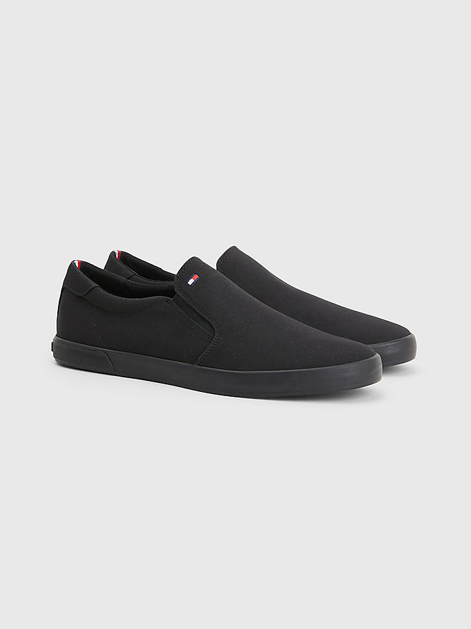 black slip-on trainers for men tommy hilfiger