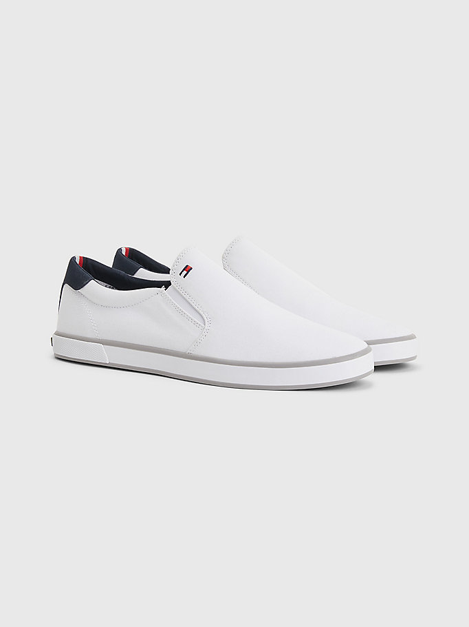 white slip-on trainers for men tommy hilfiger