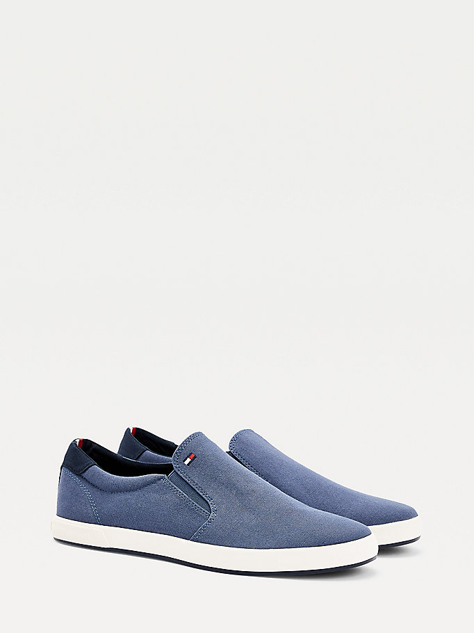 baskets iconic slip-on bleu pour men tommy hilfiger