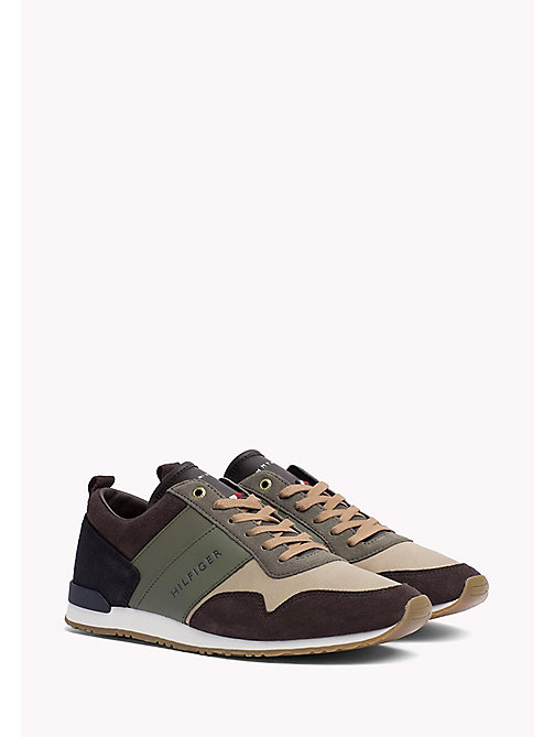 TOMMY HILFIGER Colour-Blocked Trainers - COFFEEBEAN-DUSTY OLIVE - TOMMY HILFIGER Trainers - main image