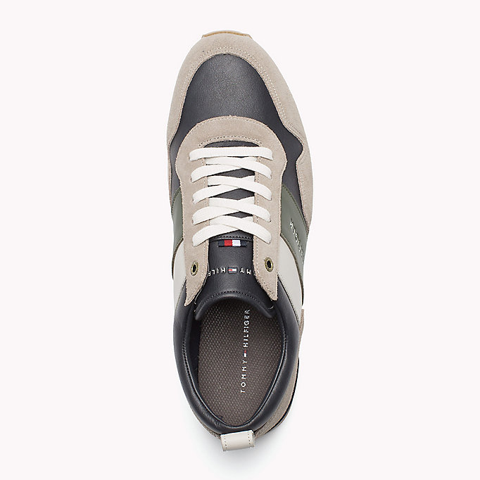 TOMMY HILFIGER Colour-blocked sneaker - COFFEEBEAN-DUSTY OLIVE - TOMMY HILFIGER Heren - detail image 1