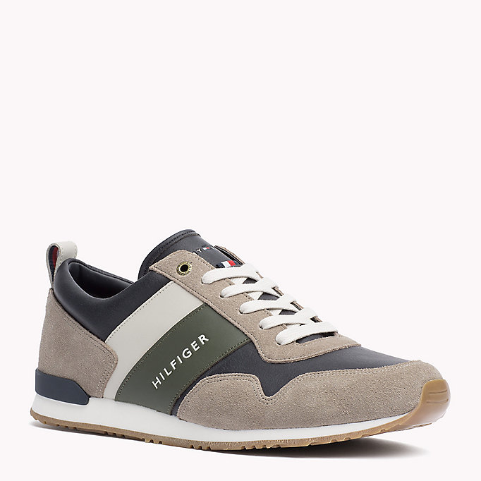 TOMMY HILFIGER Colour-blocked sneaker - COFFEEBEAN-DUSTY OLIVE - TOMMY HILFIGER Heren - main image
