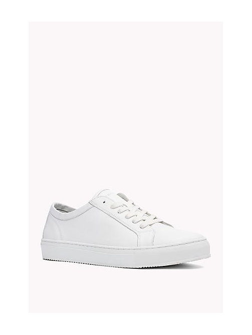 TOMMY HILFIGER Leather Lace-Up Sneaker - WHITE - TOMMY HILFIGER Shoes - main image